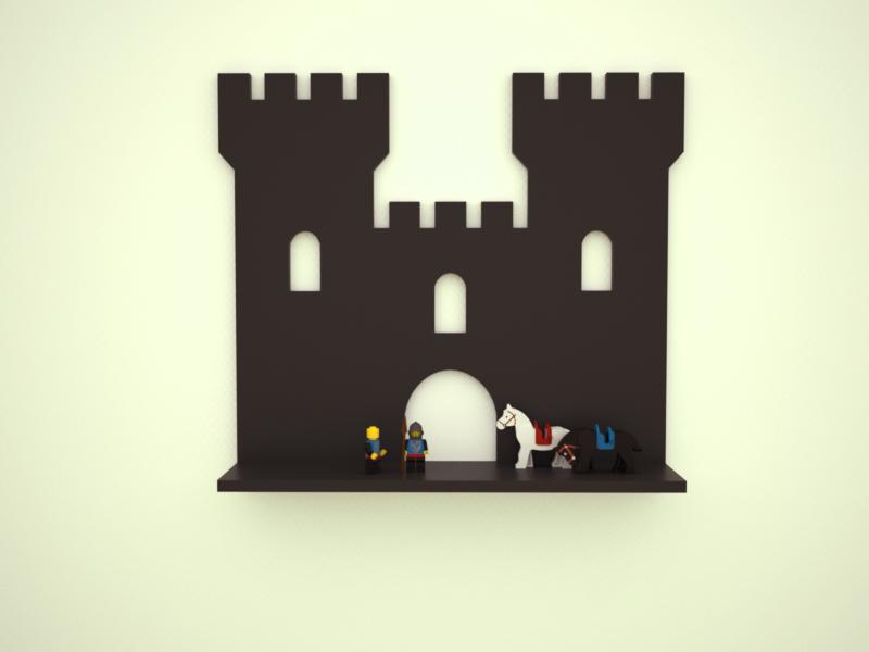 policka; polica;hrad;drievko;drevotovary