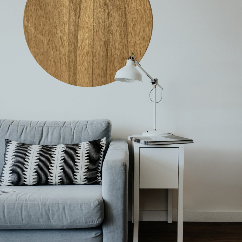 minimalisticka dekoracia kruh drevotovary